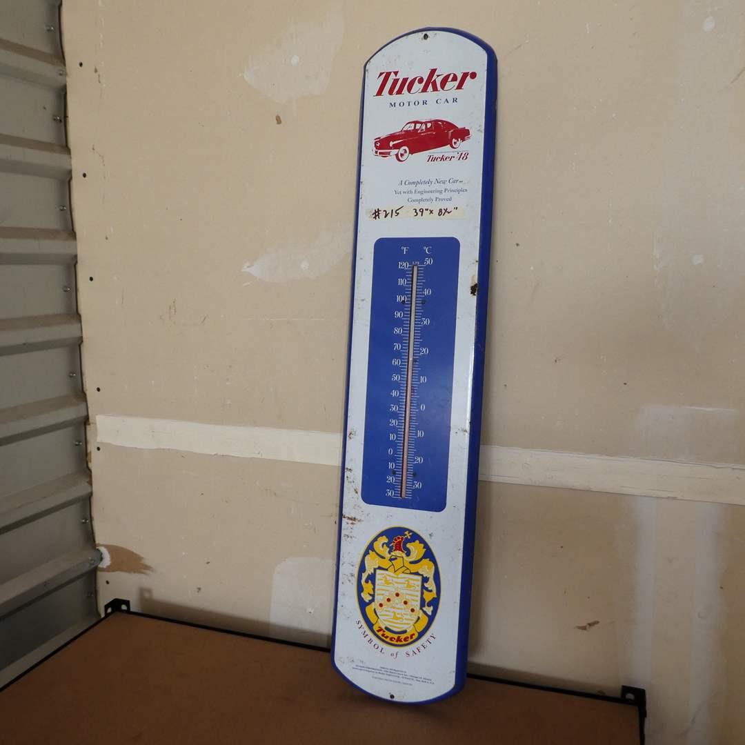 Lot # 215 - Tucker Motor Company Metal Advertising Thermometer  (main image)