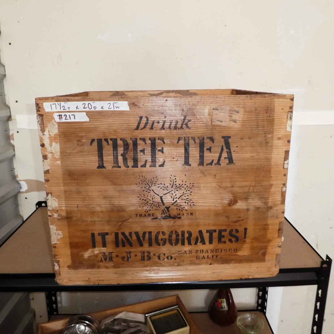 Lot # 217 -Tree Tea Orange Pekoe Vintage Wood Crate (From a Local Redding Store) (main image)