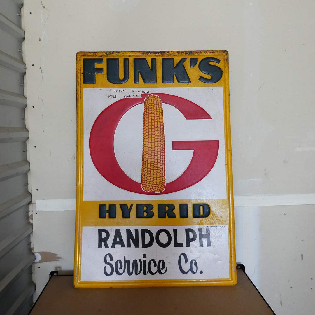 Lot # 218 - Vintage Metal Funk's Hybrid Advertising Sign (Embossed, Painted Metal one Sided) (main image)