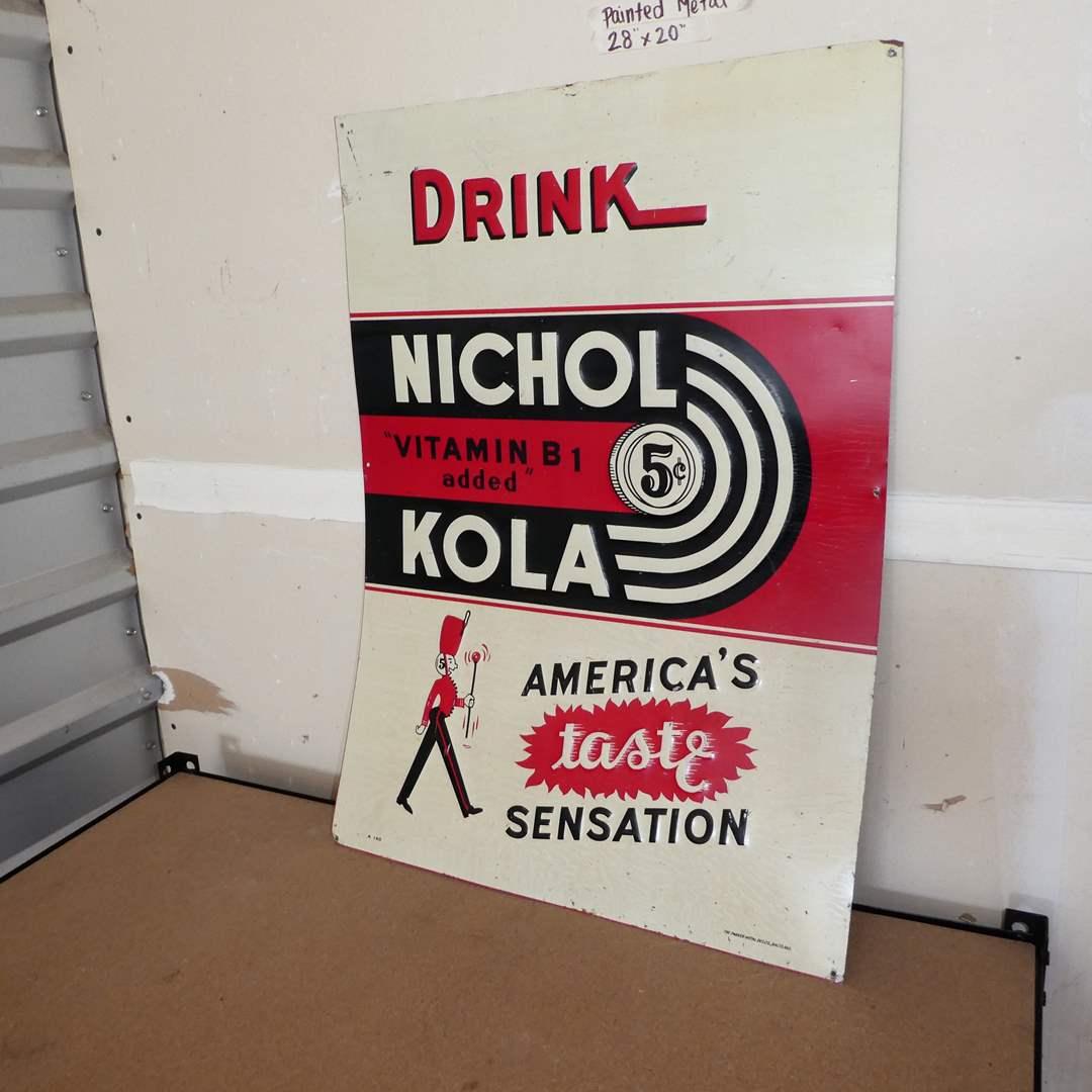 Lot # 219 - Vintage Nichol Kola Advertising Soda Pop Sign (Embossed, Painted Metal, One Sided) (main image)