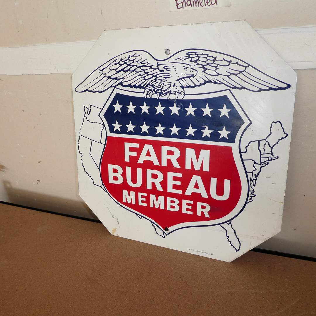 Lot # 220 - Vintage Double Sided Farm Bureau Member Sign (Enameled Metal)(See Photos for Other Side)  (main image)