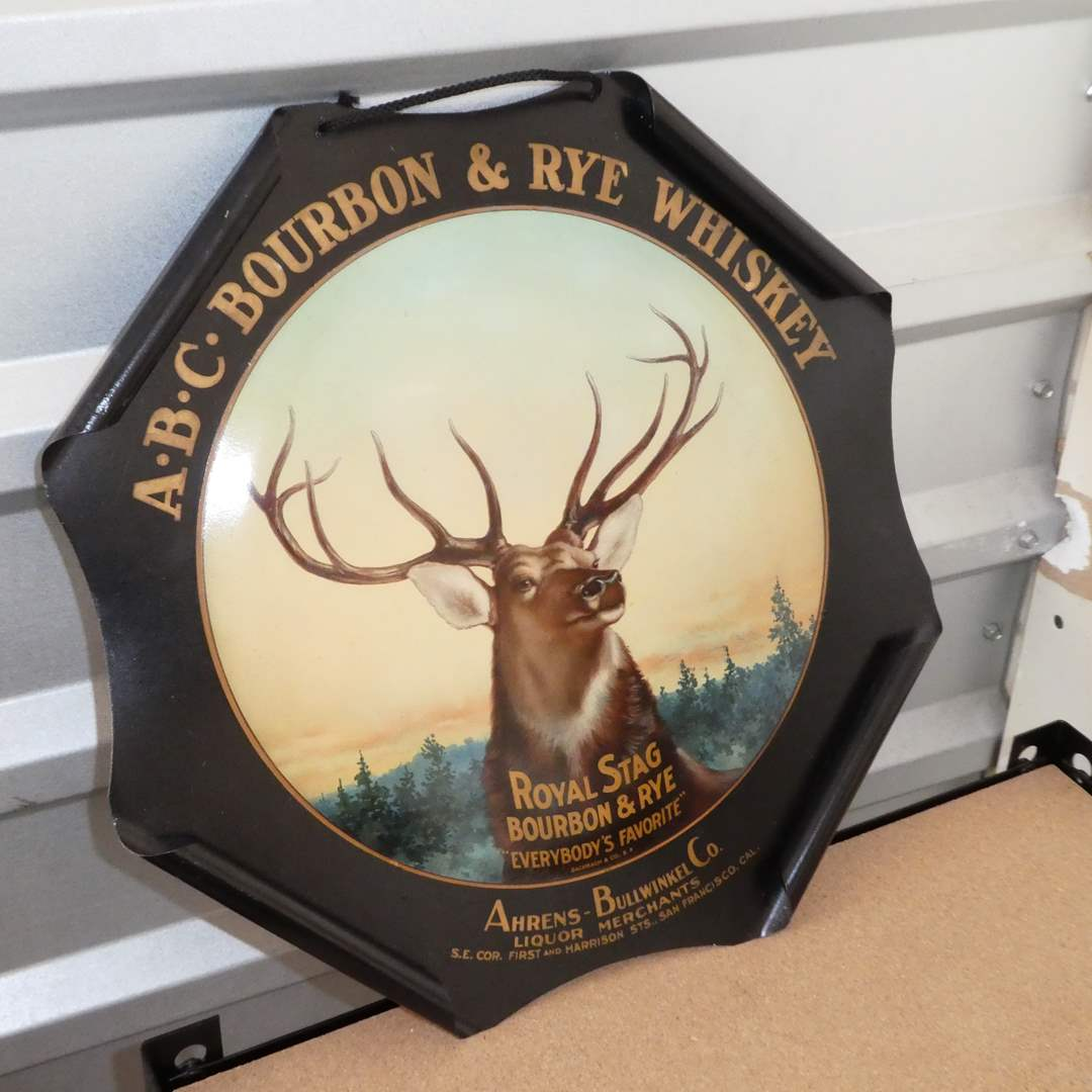 Lot # 221 - Antique ABC Bourbon & Rye Whiskey Rolled Edge Advertising Sign (Early 1900's)(In Great Condition) (main image)