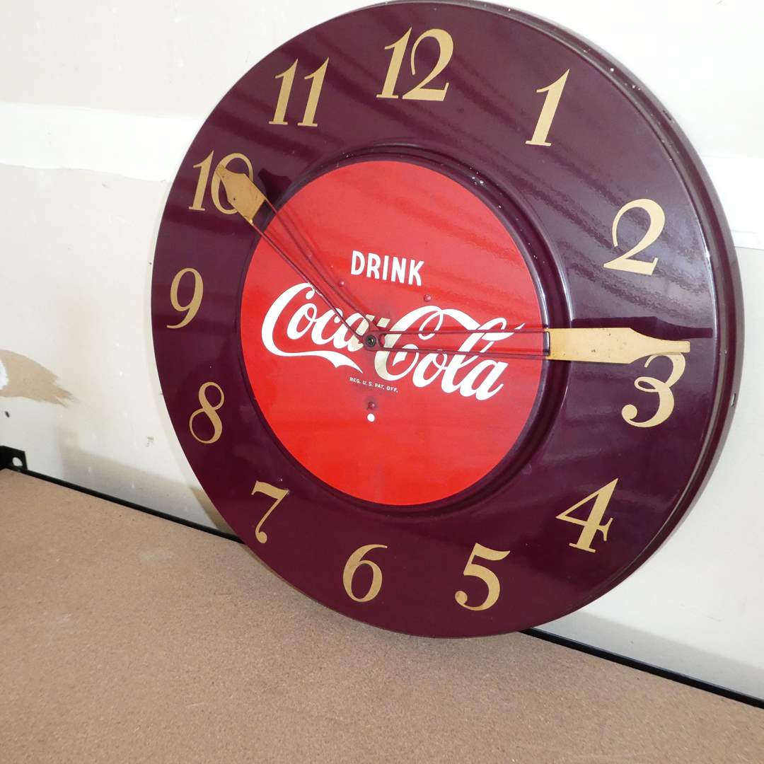 Lot # 222 - Vintage Drink Coca-Cola Advertising Clock ( Enameled Metal, In Great Condition) (main image)