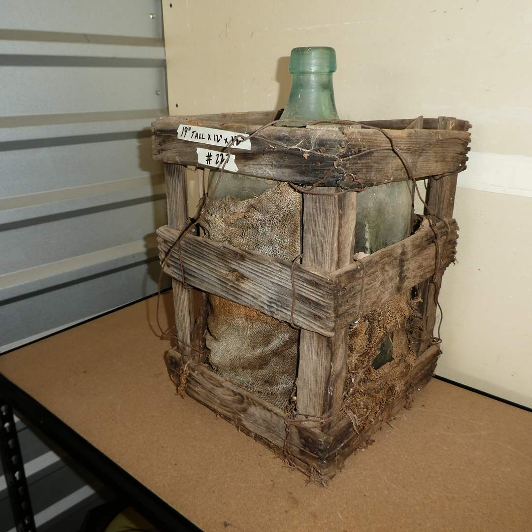 Lot # 227 - Vintage 5 Gallon Glass Water Bottle in Wood Crate (main image)
