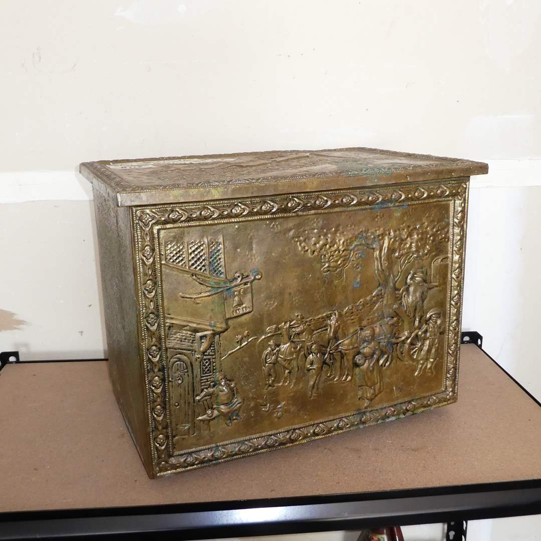 Lot # 228 - Steel Box Covered in Hammered Brass Art (main image)