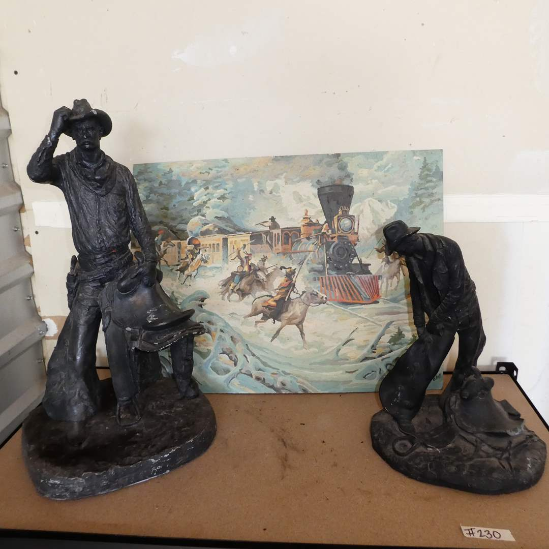 Lot # 230 - Two Vintage Bronze Color Michael Garman Cowboy Statues and an Original Painting (main image)