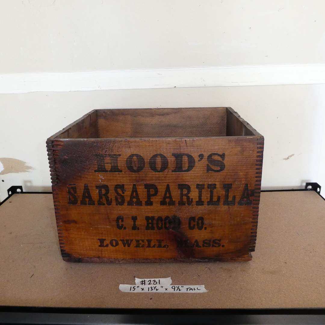 Lot # 231 - Vintage Hood's Sarsaparilla Wooden Crate (Dovetailed) (main image)