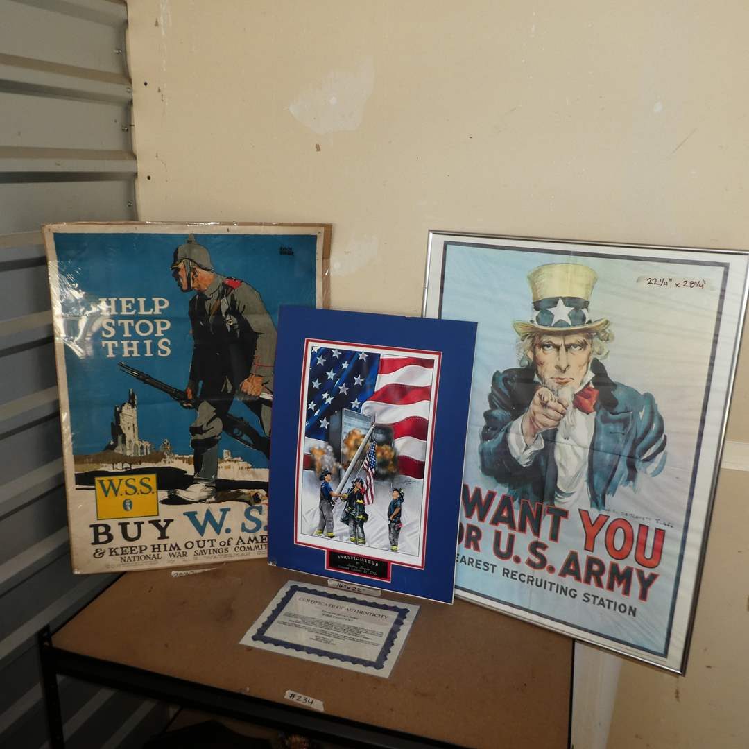 "Lot # 234 - Vintage Collectible War Posters and Authentic Anthony Douglas American Heroes Lithograph ""Fire Fighters""   (main image)"