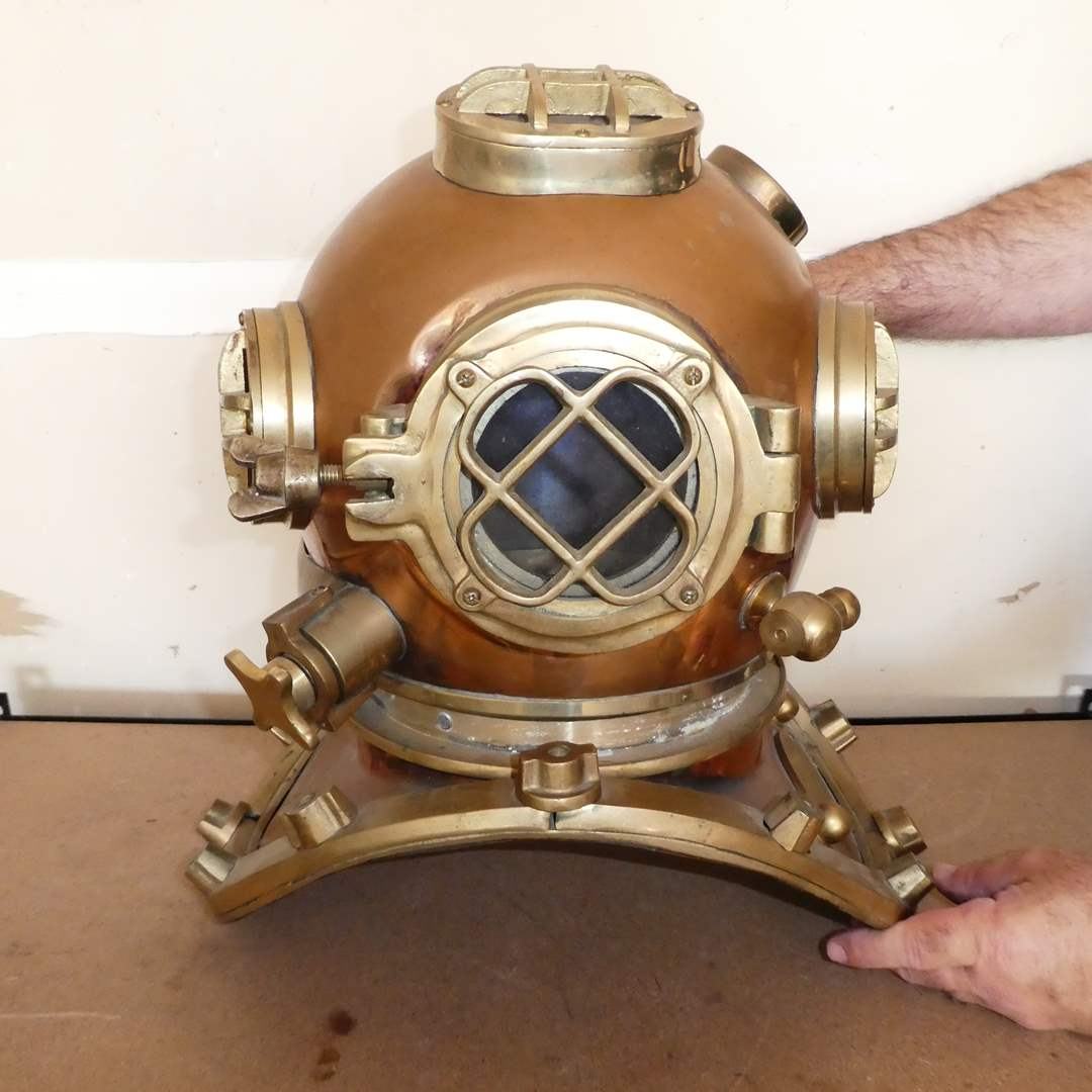 Lot # 236 - Heavy Vintage Copper and Brass Reproduction U.S. Navy Diving Helmet (main image)