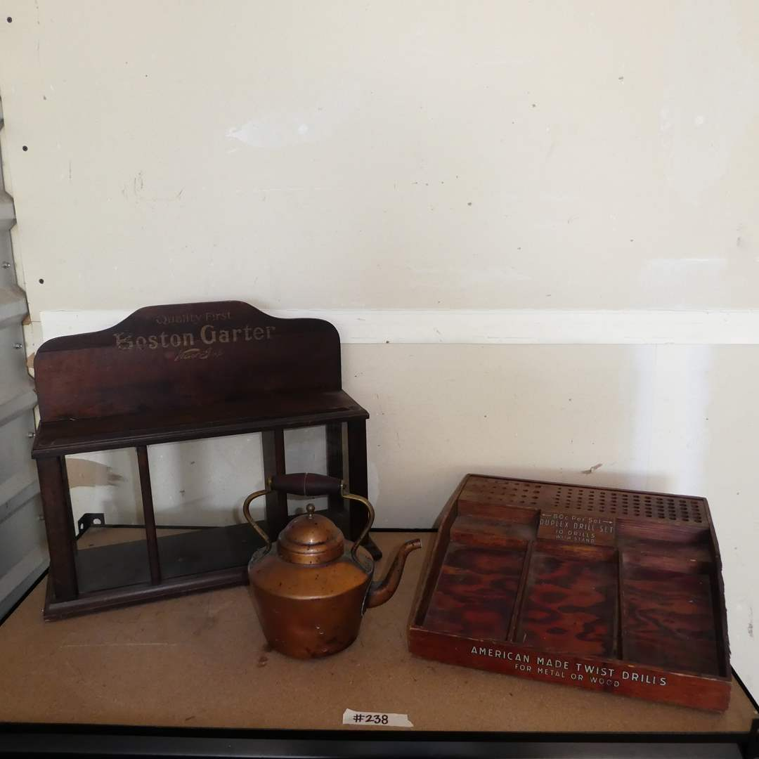 Lot # 238 - Vintage Lot (Copper Tea Kettle, Quality First Boston Garter Display Case and Wood Drill Bit Stand) (main image)