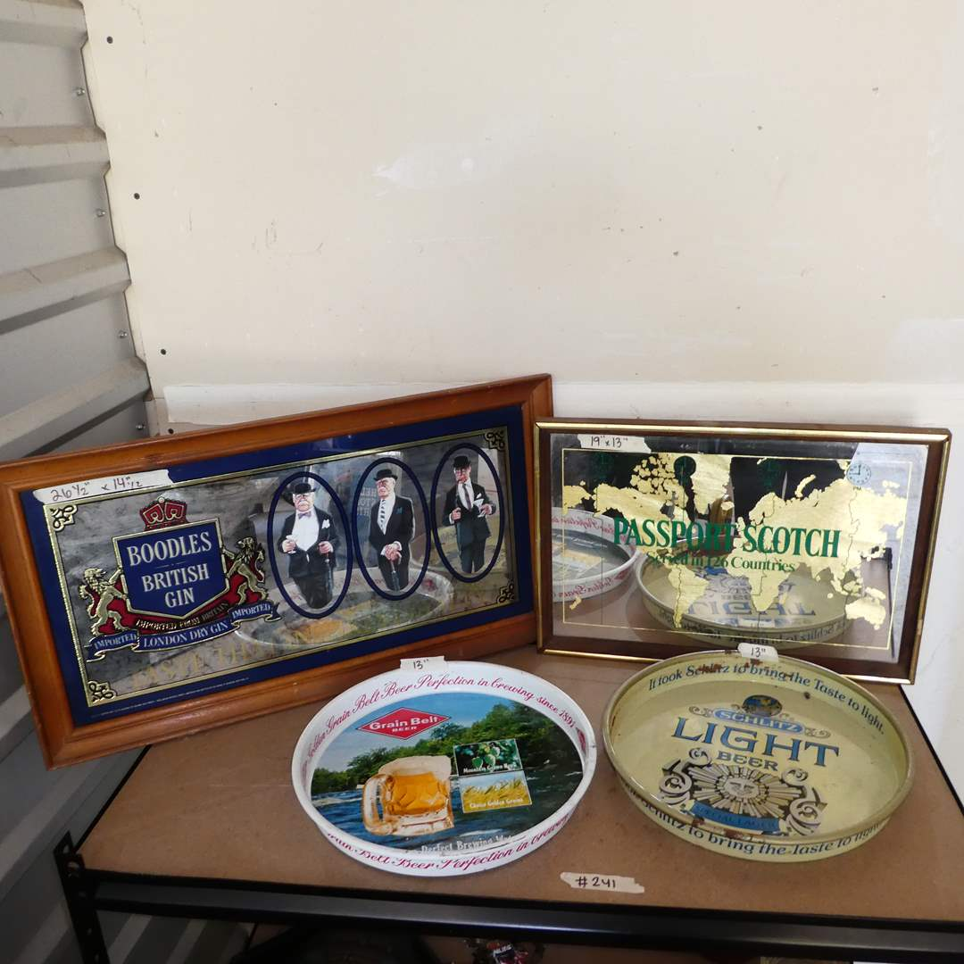 Lot # 241 - Vintage Metal Advertising Beer Trays, Passport Scotch Advertising Mirror and Boodles British Gin Mirror (main image)
