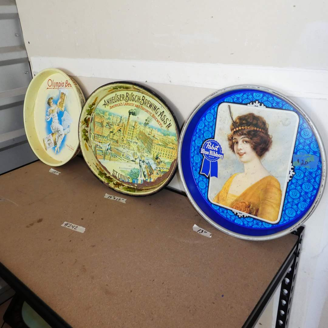 Lot # 242 - Vintage Advertising Beer Trays (Past Blue Ribbon, Anheuser Busch & Olympia) (main image)
