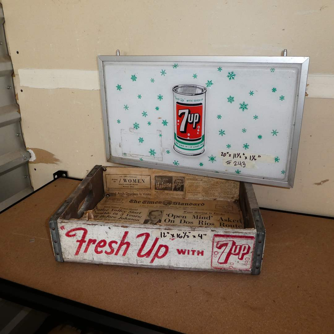 Lot # 243 - Vintage 7UP Advertising Sign and Wooden 7UP Crate (main image)