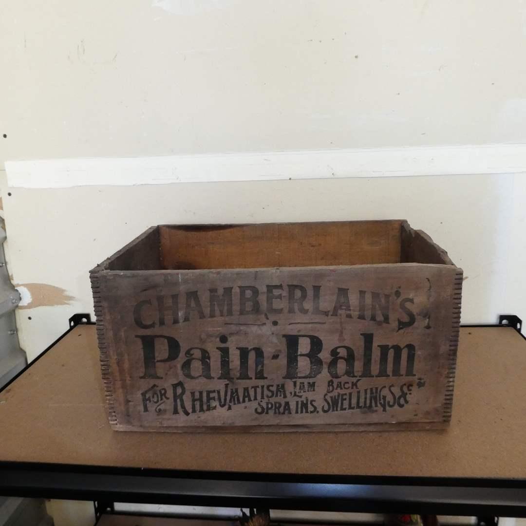 "Lot # 244 - Vintage Chamberlin's Medicine Company ""Pain- Balm"" Crate (main image)"