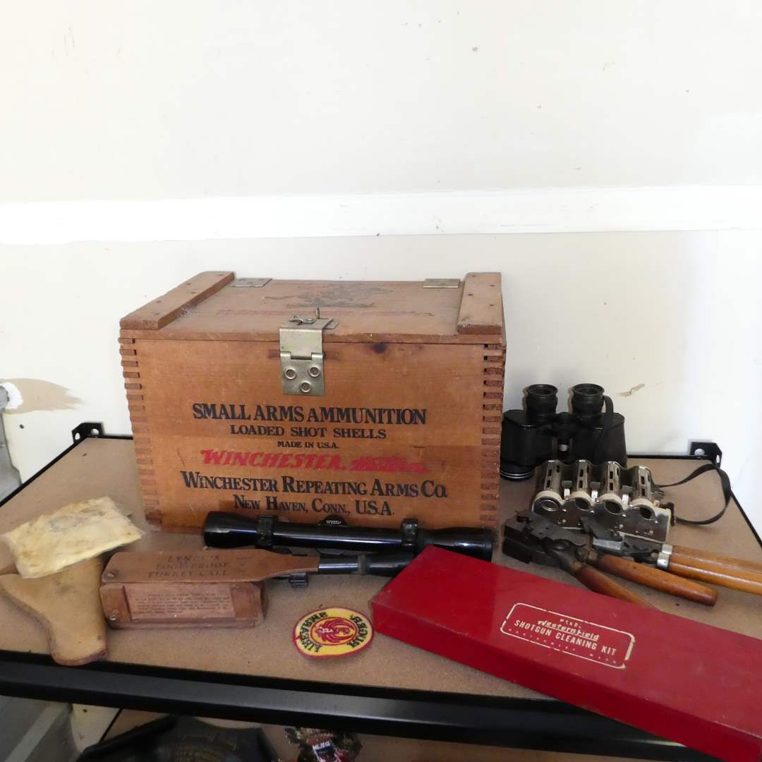 Lot # 245 - Vintage Wooden Winchester Western Ammunition Box and Shot Gun Cleaning Kit, Turkey Called, Scope and More!  (main image)