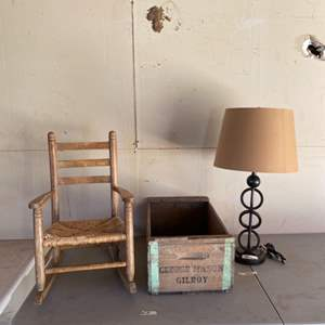 Auction Thumbnail for: Lot # 18 - Vintage Wooden George Mason Gilroy Box, Small Primitive Rocking Chair and Table Lamp
