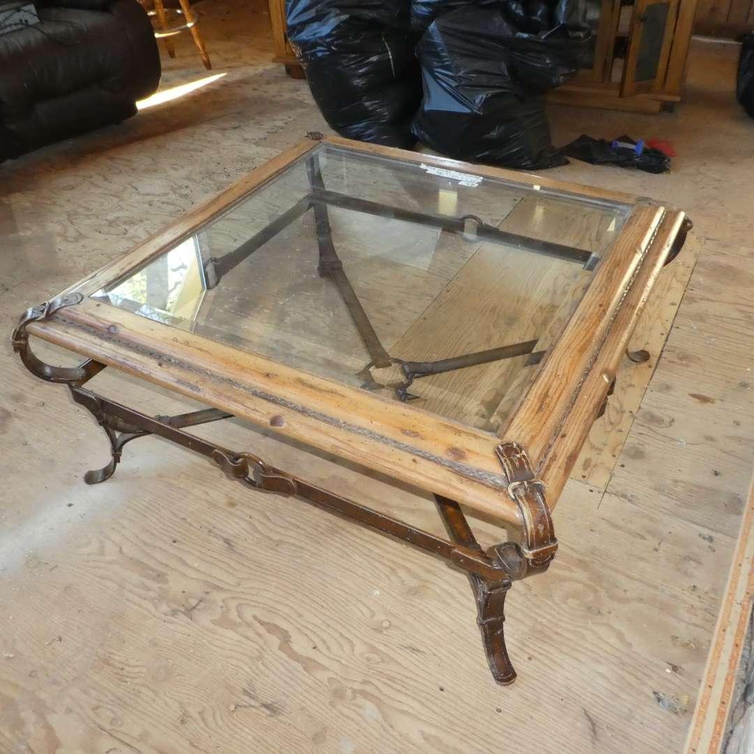 Lot # 3 - Heavy Metal Horsebit Belt Base w/ Wood and Beveled Glass Top Coffee Table (main image)