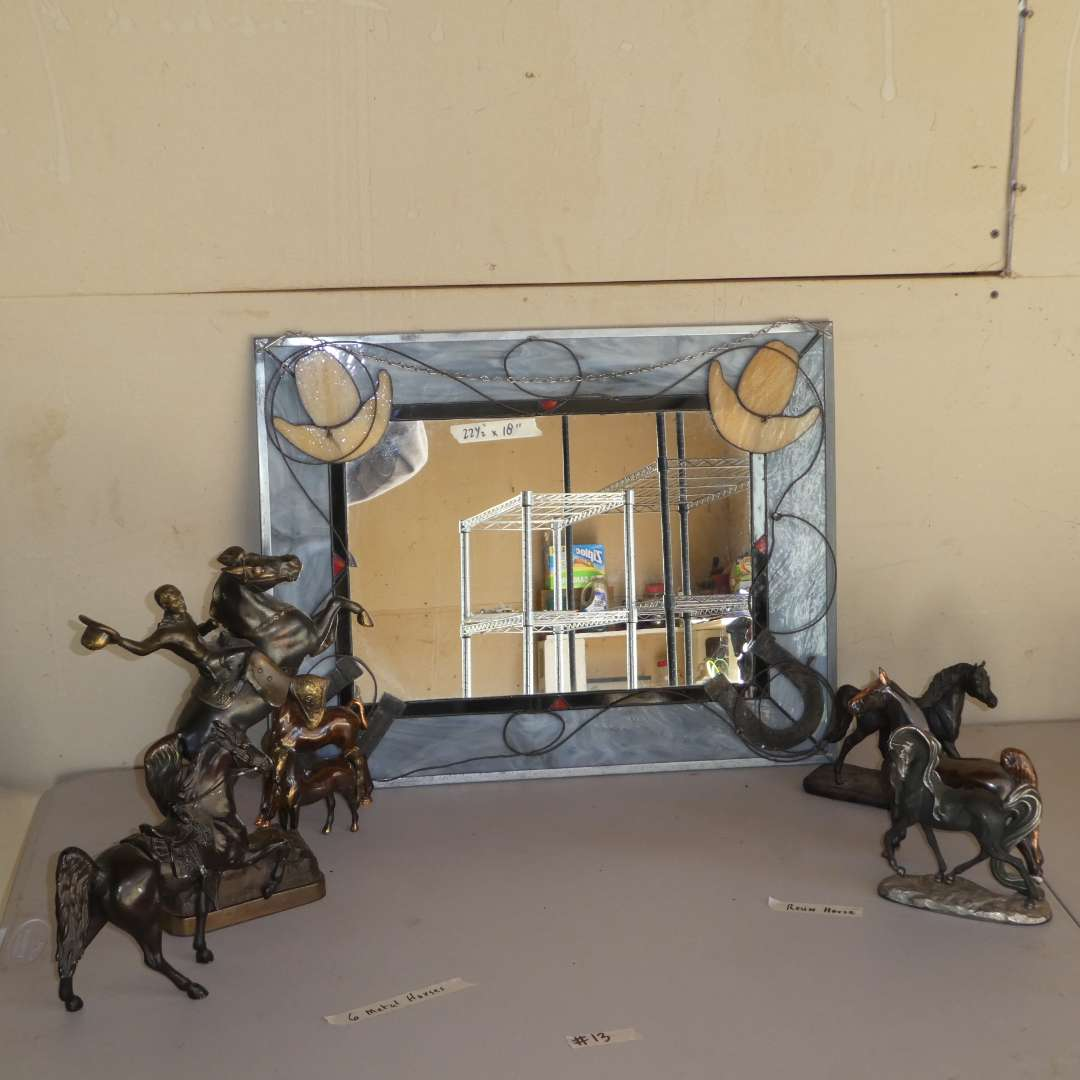 Lot # 13 -  Metal Horse Figurines and Western Mirror