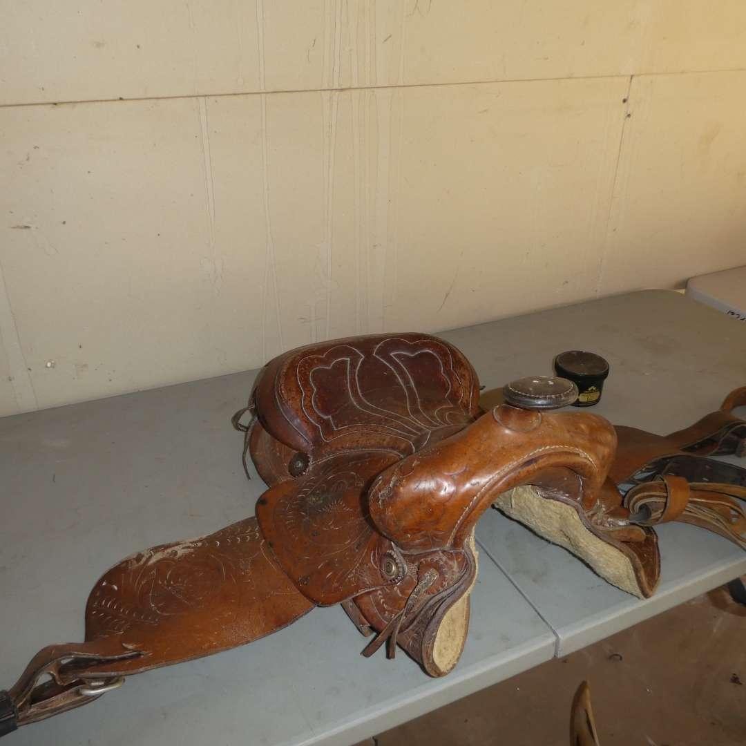 Lot # 16 - Tooled Western Leather Saddle