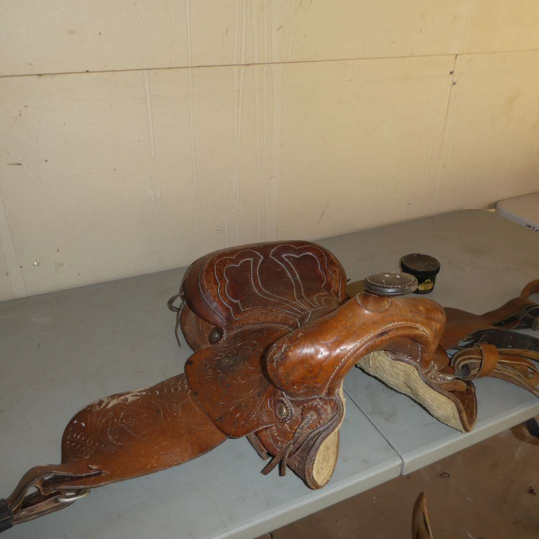 Lot # 16 - Tooled Western Leather Saddle (main image)