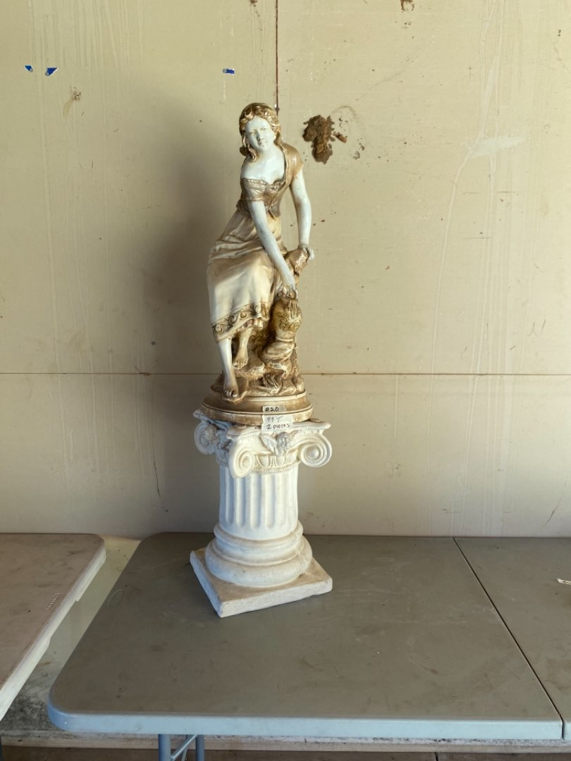 Lot # 20 - Vintage Marwal Ind Inc. Statue of Girl and  Pillar Stand (Two Pieces) (main image)
