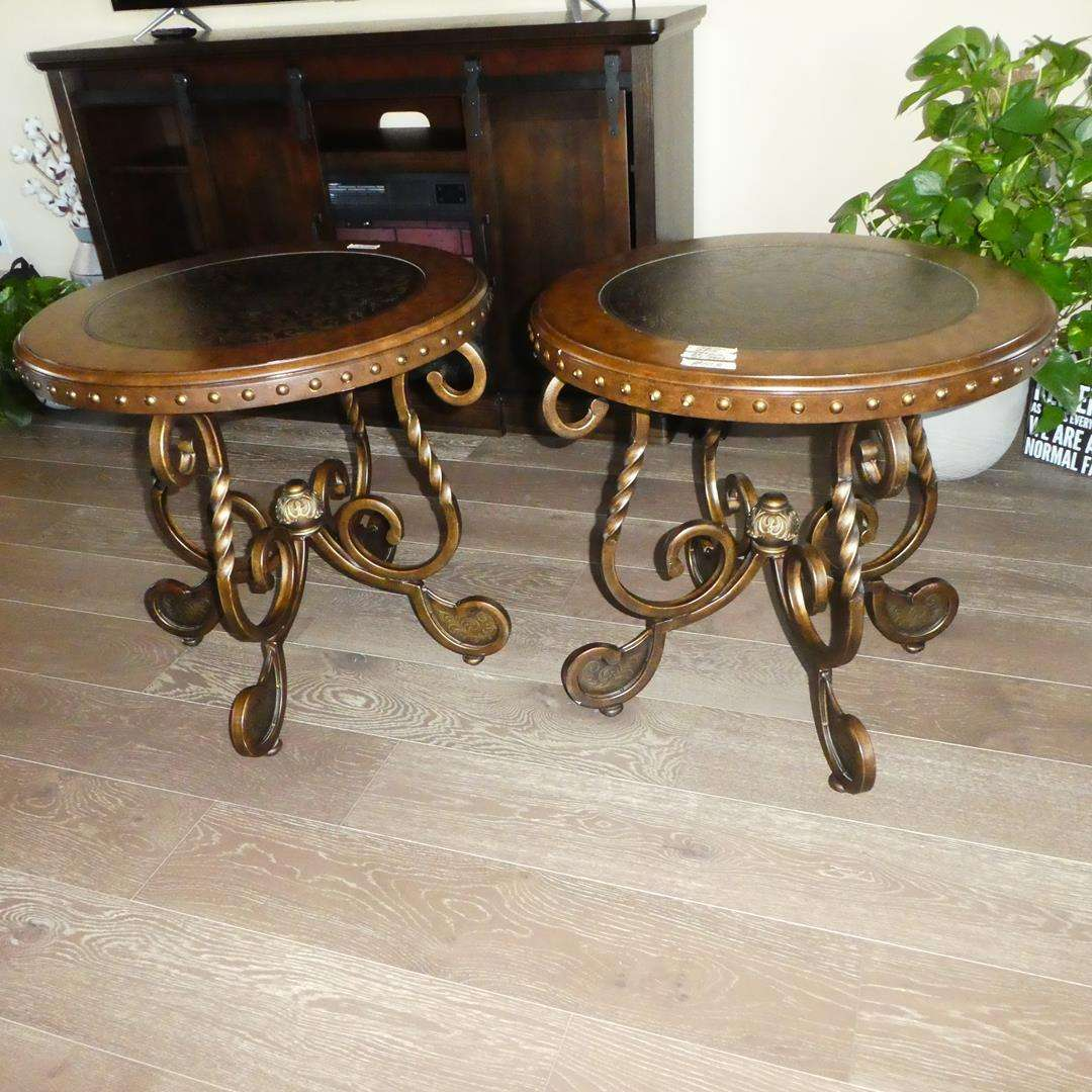 Lot # 103 - Pair Ashley Furniture End Tables - Cherry Finish & Metal Frames (main image)