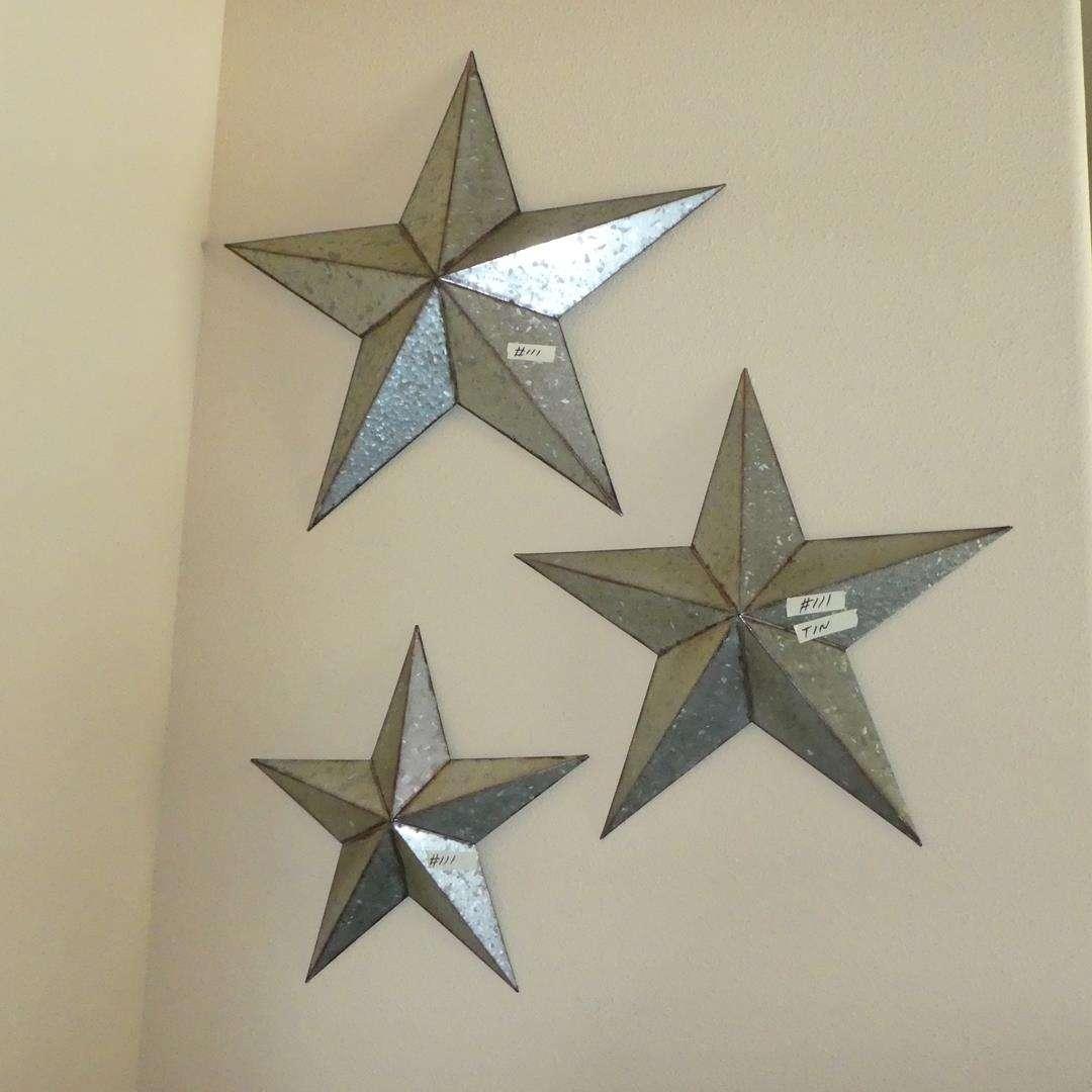 Lot # 111 - Three Decorative Tin Western Stars - Wall Art (main image)