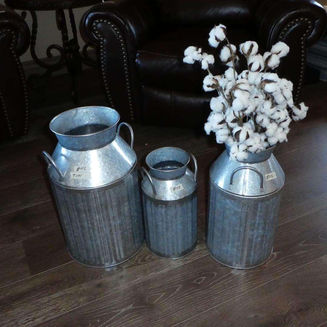 Lot # 112 - Three Decorative Tin Metal Milk Cans (main image)