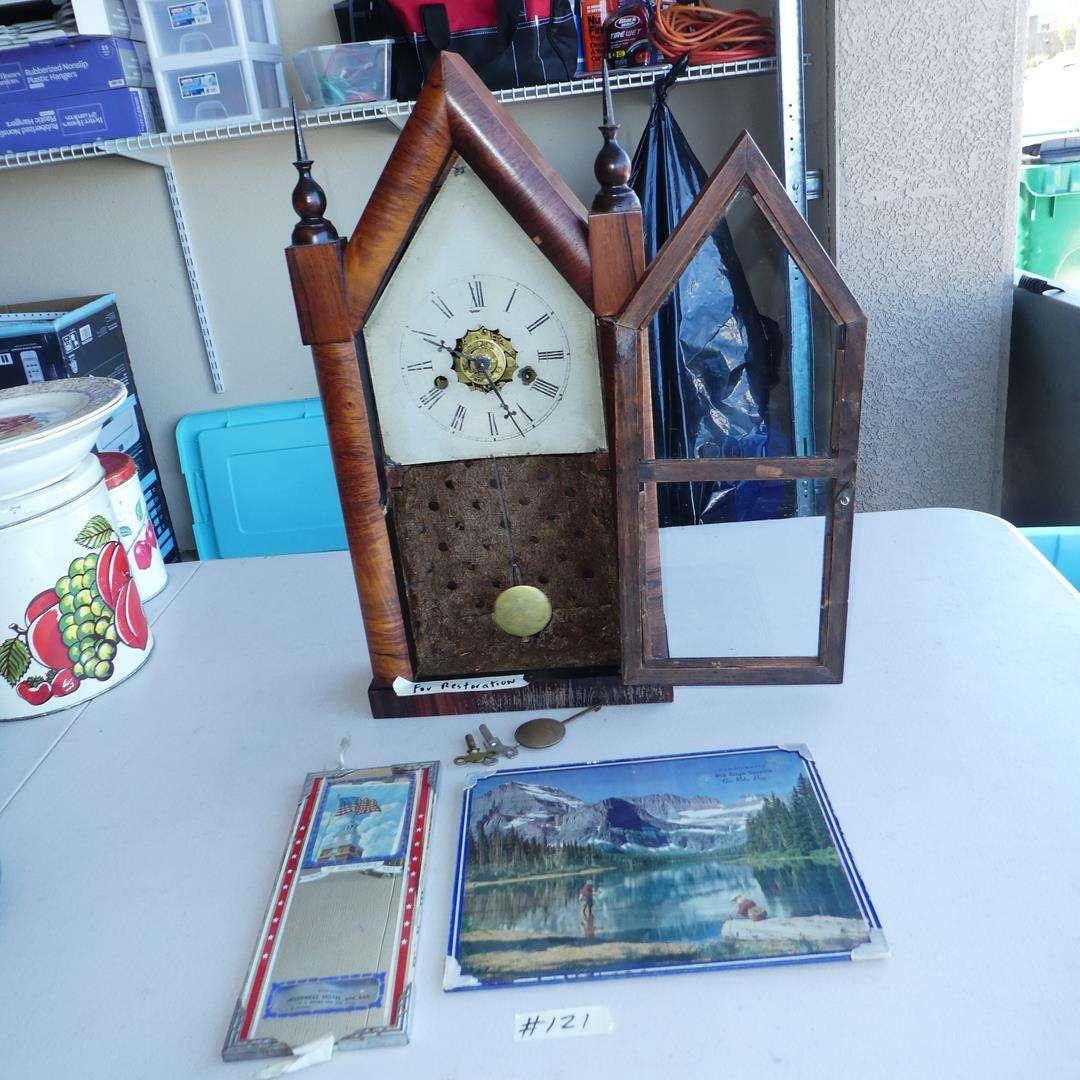 Lot # 121 - Vintage Advertising & Mantle Clock for Restoration (main image)
