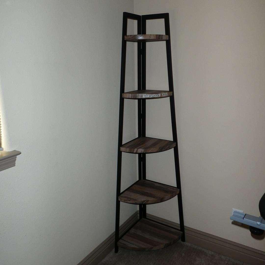 Lot # 132 - Tall Skinny Corner Shelf - Metal Frame Plastic Shelves (main image)