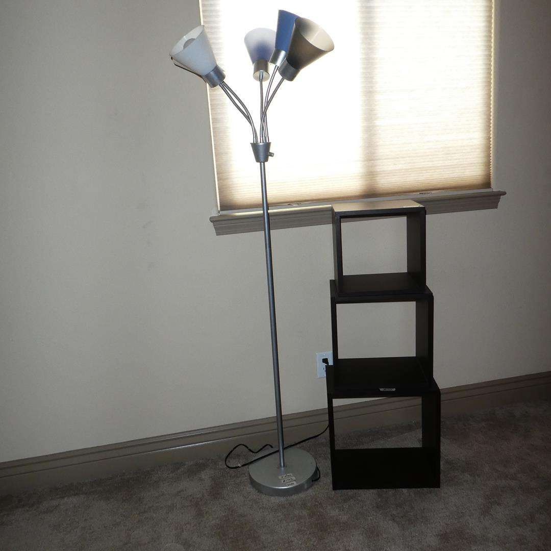 Lot # 133 - Five Light Metal Floor Lamp & Three Stacking Boxes Shelf (main image)