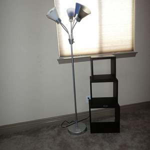 Auction Thumbnail for: Lot # 133 - Five Light Metal Floor Lamp & Three Stacking Boxes Shelf