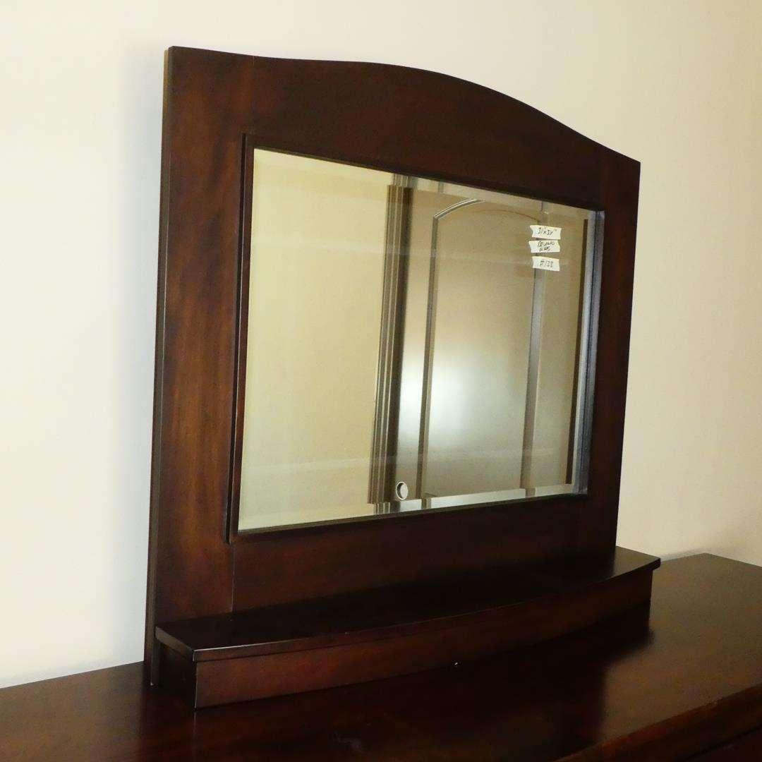 Lot # 138 - Beveled Glass Wooden Free Standing Dresser Mirror (main image)