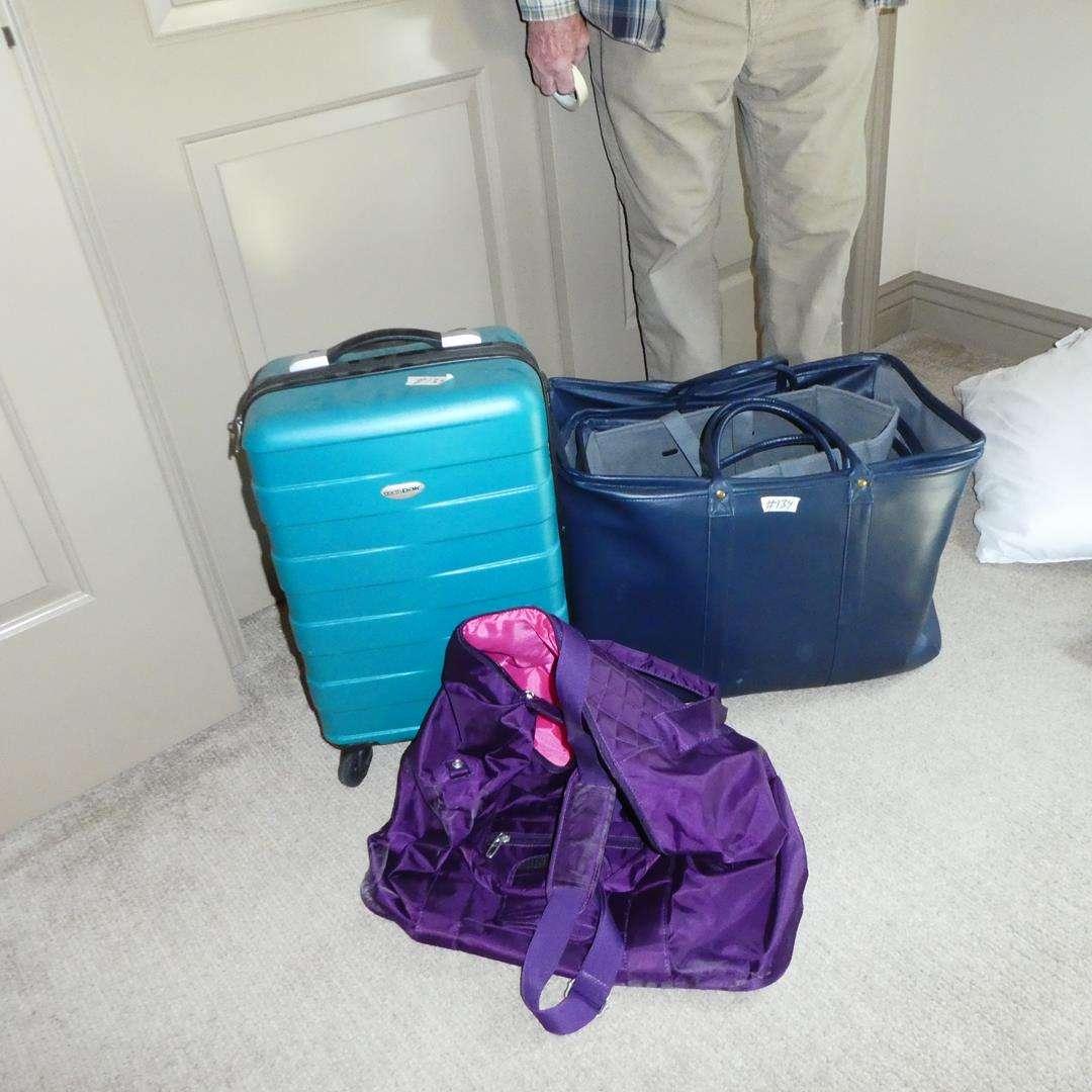 Lot # 134 - Vinyl & Cloth Storage Bins & Northpak Luggage on Wheels (main image)