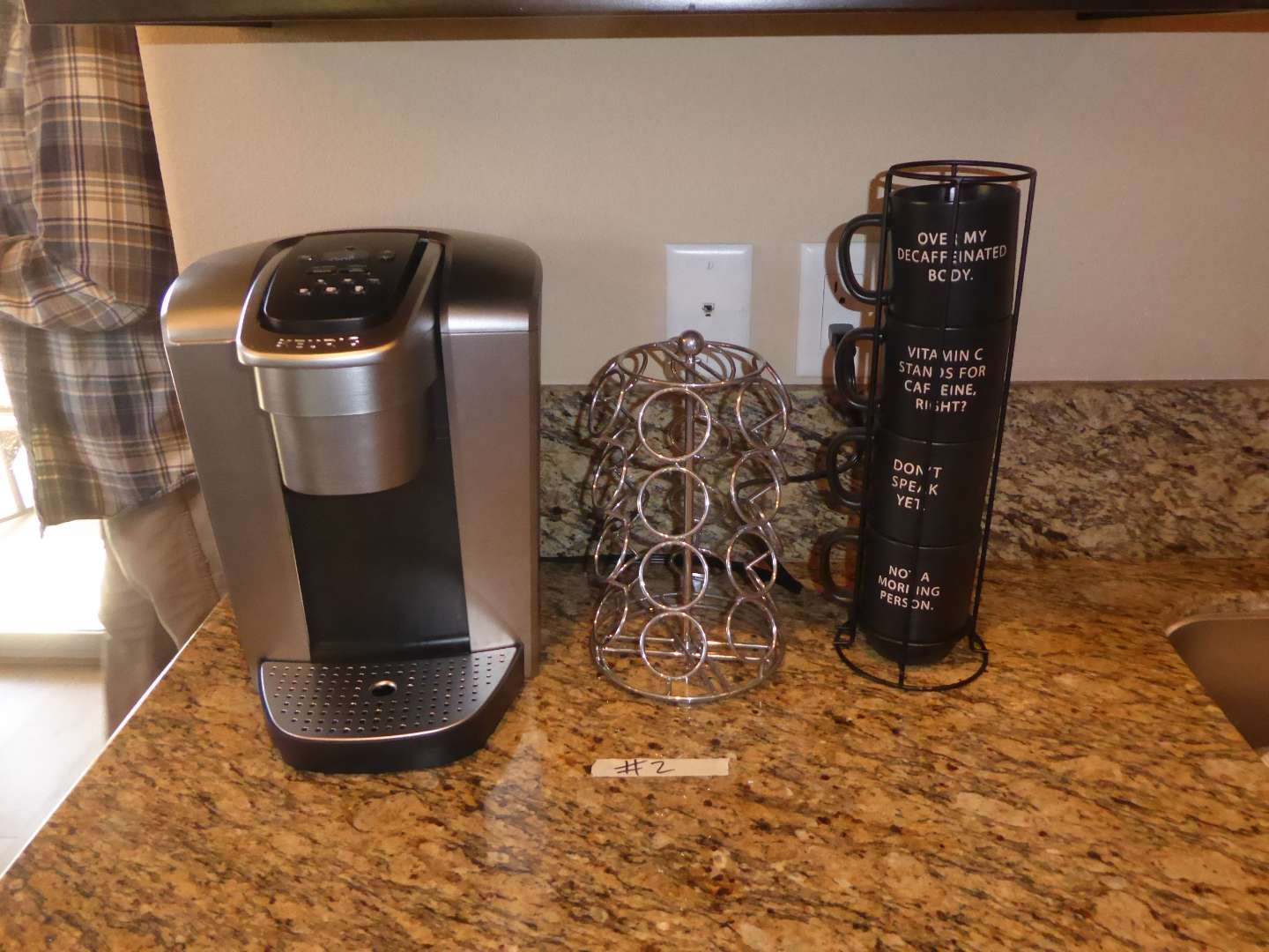 Lot # 2 - Keurig, Pod Stand & Cute Coffee Mugs  (main image)