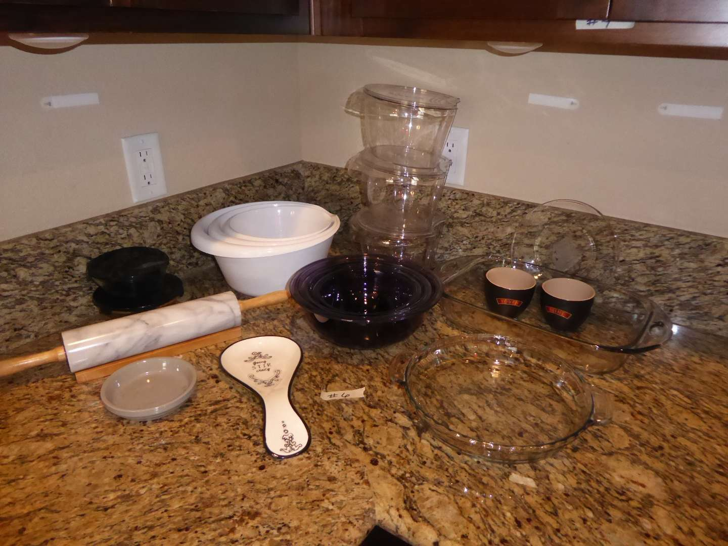 Lot # 6 - Glass Pyrex Mixing Bowls, Rolling Pin & Veggie Bullet Containers  (main image)