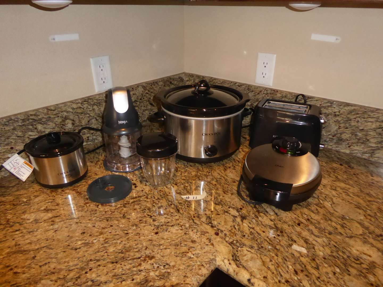 Lot # 11 - Ninja, Crock Pots, Waffle Iron & Small Toaster  (main image)