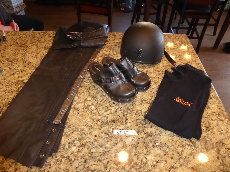 Lot # 22 - Harley Davidson Chaps XS Harley Sweater & Fulmer Helmet  (main image)