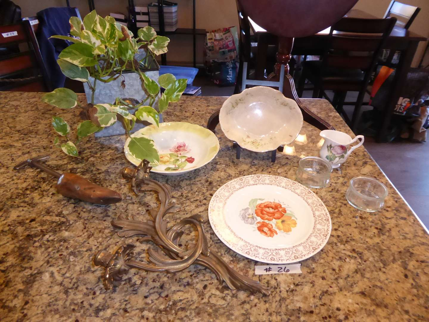Lot # 26 - Cute Folding Table, Vintage Dishes, Brass Candle Holder & More  (main image)