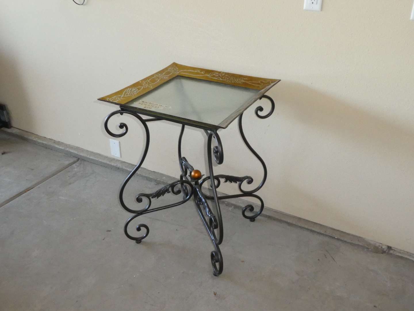 Lot # 250 - Adorable Side Table w/ Metal Base and Glass Top  (main image)