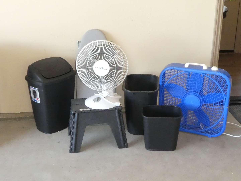 Lot # 255 - Air Monster Fan, Box Fan, Small Folding Ironing Board and Sterilite Trash Can (main image)