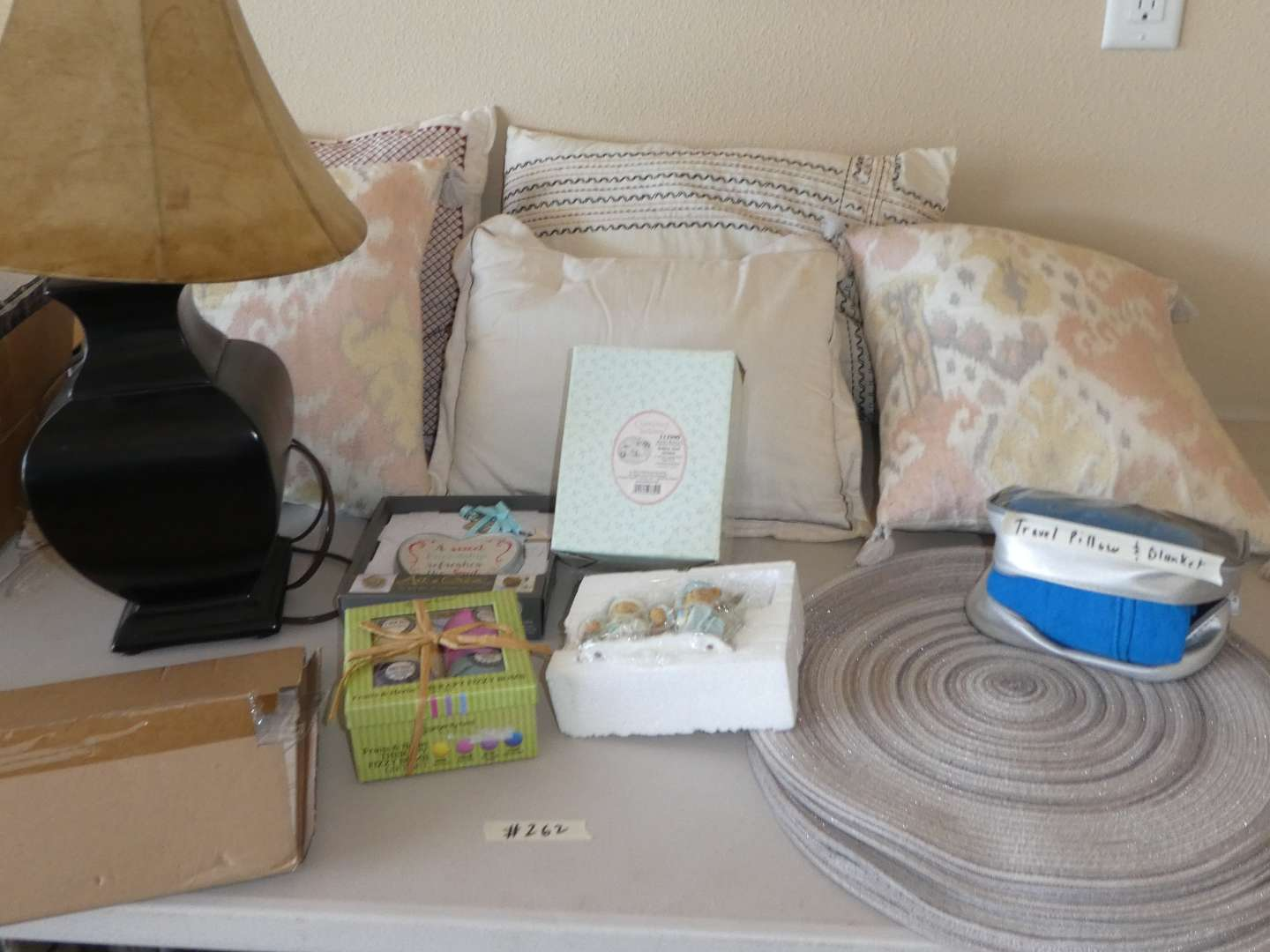 Lot # 261 - Throw Pillows, Table Lamp, Placemats and More (main image)