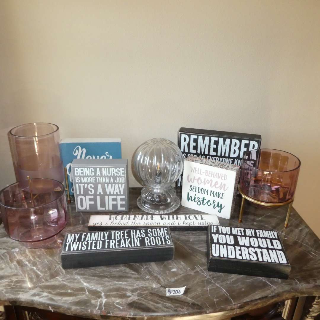 Lot # 203 - Adorable Signs w/ Sayings (Inspirational/ Family), Unique Table Lamp and Light Plink Glass Planters/Candle Holders  (main image)