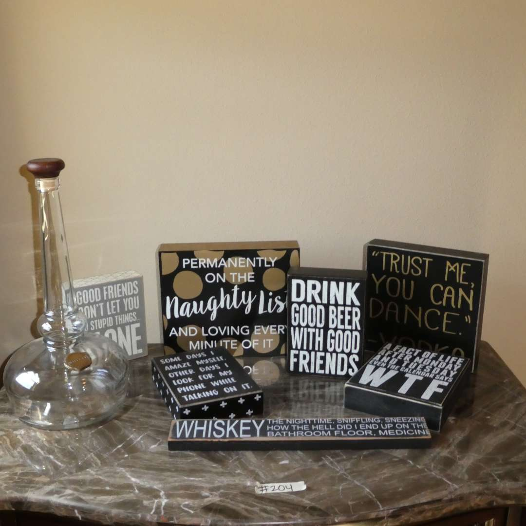 Lot # 204 -  Adorable Signs w/ Sayings (Funny/Alcohol Themed) and Willett Pot Still Reserve Bottle (main image)