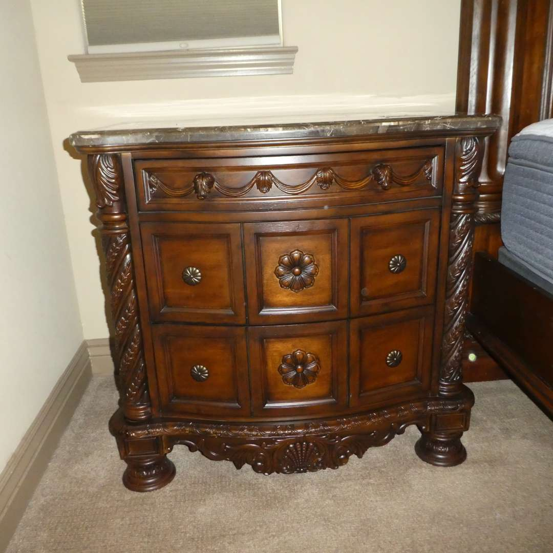 """# 206 - Ashley Furniture """" North Shore""""  Night Stand (Marble Top) Like New (main image)"""