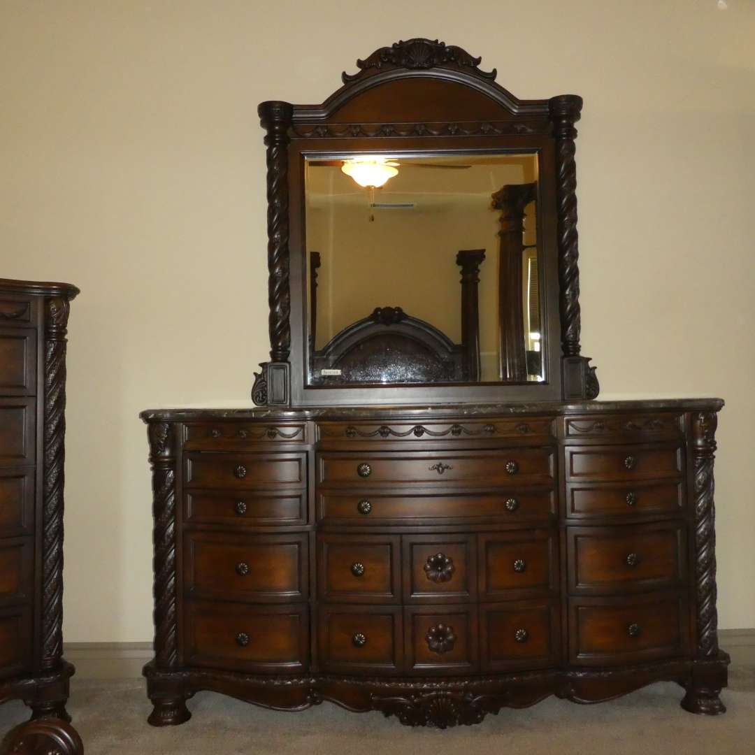 "Lot # 207 - Ashley Furniture ""North Shore"" Dresser and Beveled Mirror (Marble Top) Like New  (main image)"
