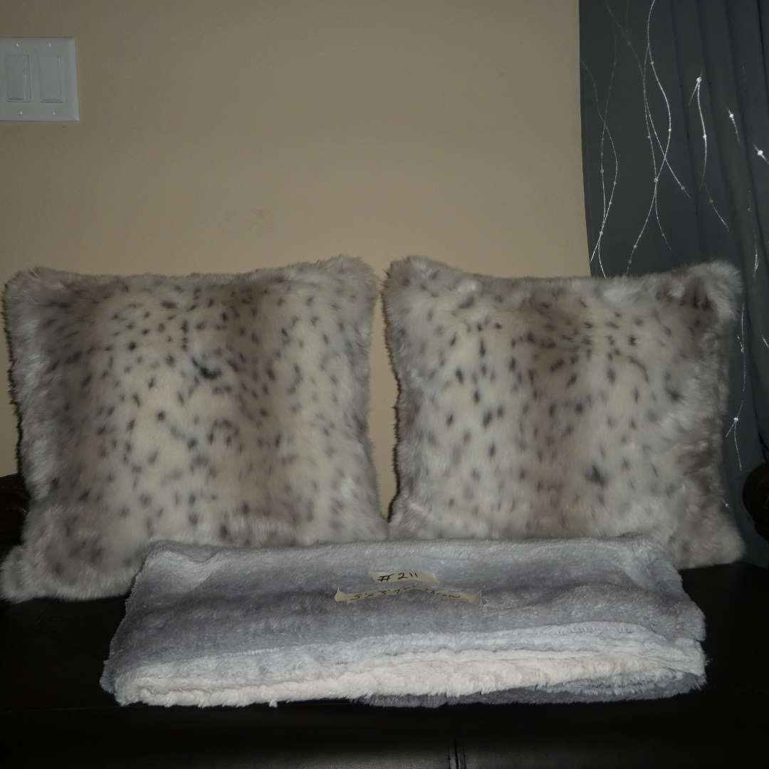 Lot # 211 - Two Faux Fur Snow Leopard Throw Pillows and Throw Blanket  (Great Condition) (main image)