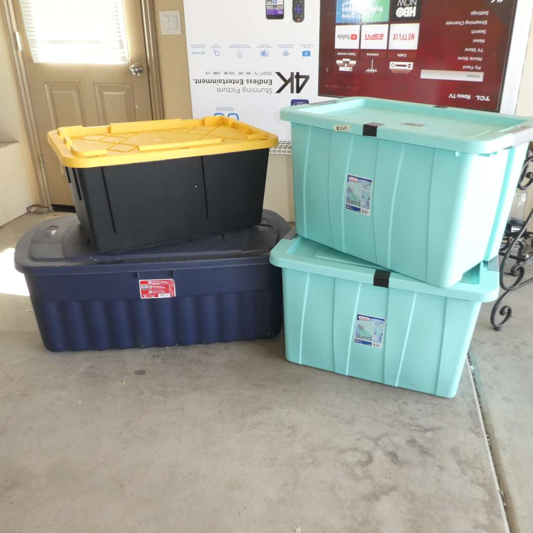 Lot # 265 - Four Large Storage Totes (One Has Crack on Lid) (main image)
