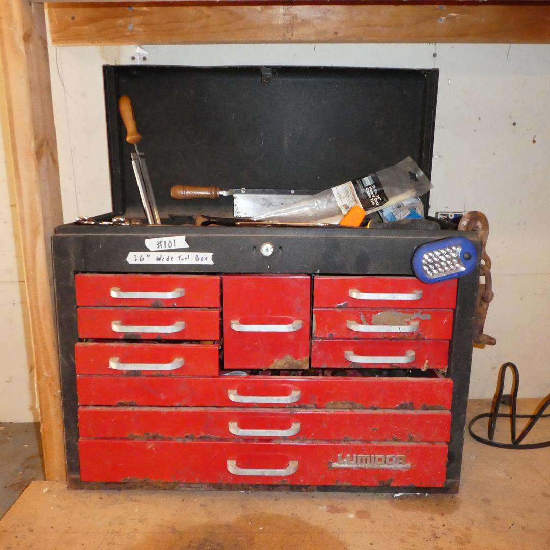 Lot # 101 - Lumidor Tool Box & Misc. Tools - No Key (main image)