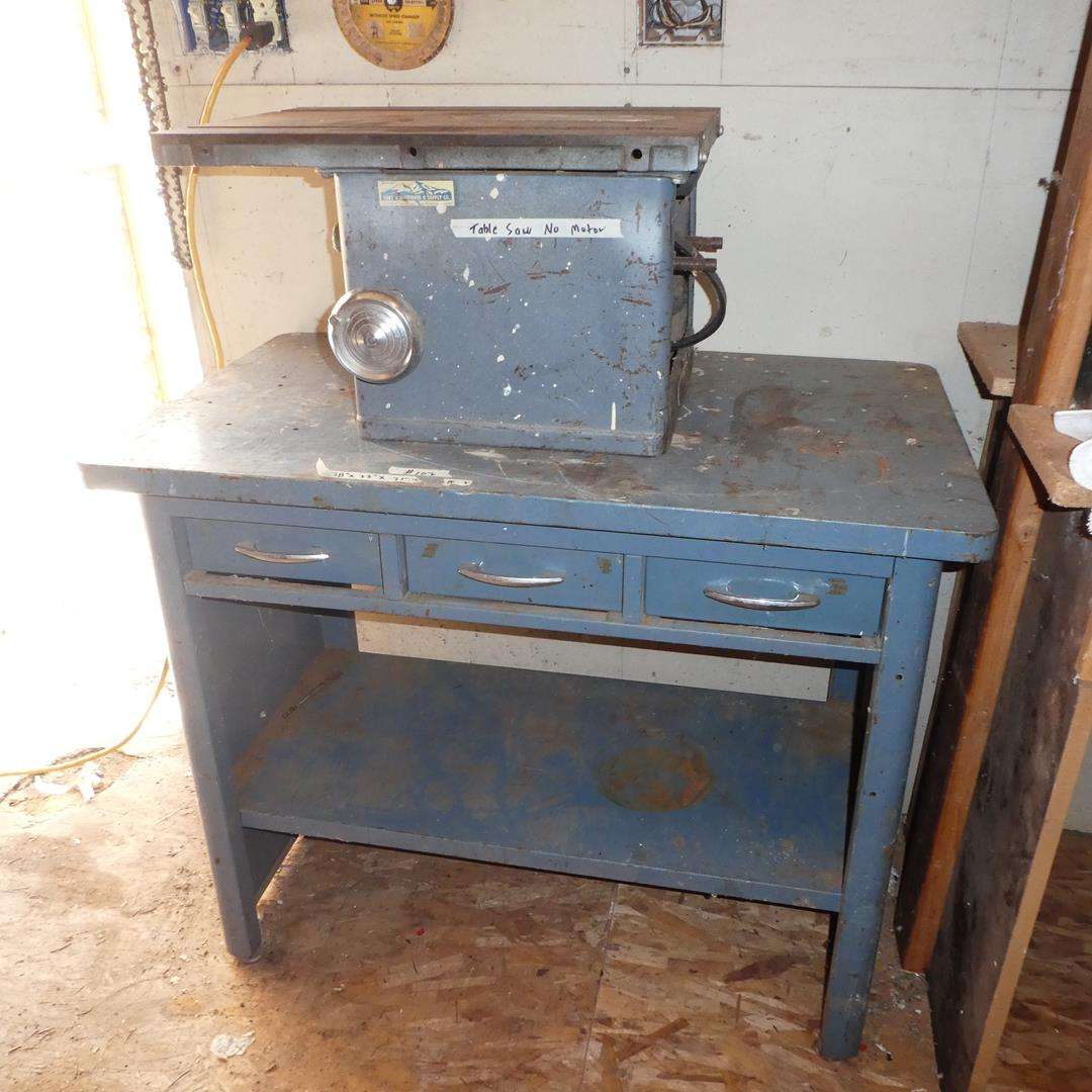 Lot # 102 - Metal Work Bench w/Pull Out & Drawers & Delta Table Saw (No Motor) (main image)